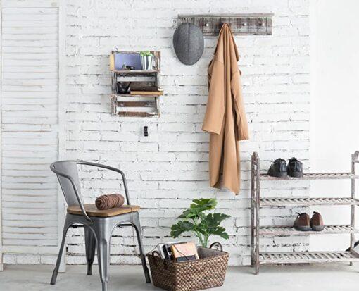 Rustic Wood Wall Organizer Shelves