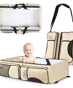 Diaper bag with bassinet crib