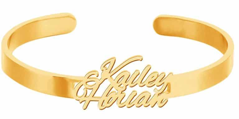 Yoke Style Custom Initial Name Cuff Bracelet